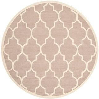 Safavieh Handmade Moroccan Cambridge Beige/ Ivory Wool Contemporary Rug (6' Round)