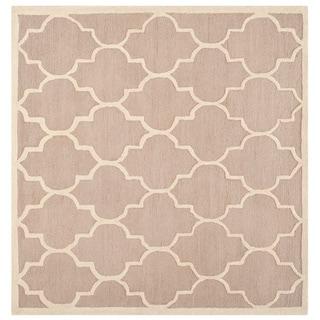 Safavieh Handmade Moroccan Cambridge Beige/ Ivory Wool Rug (8' Square)