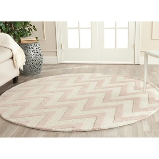 Safavieh Handmade Moroccan Cambridge Light Pink/ Ivory Wool Rug (6' Round)