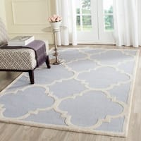 Safavieh Handmade Moroccan Cambridge Light Blue/ Ivory Wool Rug - 5' x 8'