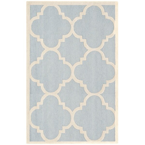 Safavieh Handmade Moroccan Cambridge Light Blue/ Ivory Wool Rug - 8' x 10'