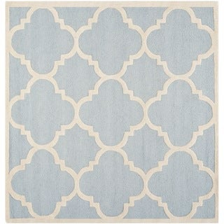 Safavieh Handmade Moroccan Cambridge Light Blue/ Ivory Wool Rug (8' Square)