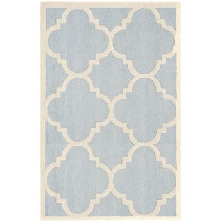 Safavieh Handmade Moroccan Cambridge Light Blue/ Ivory Wool Rug (9' x 12')