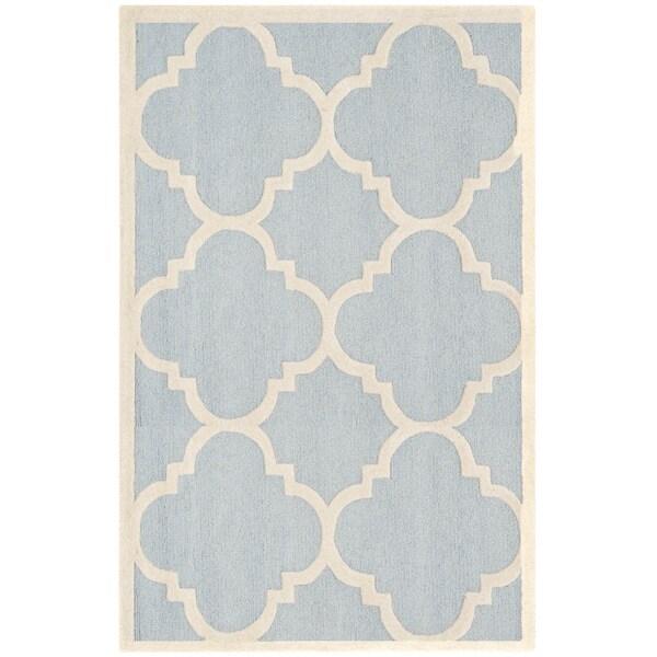 Safavieh Handmade Moroccan Cambridge Light Blue/ Ivory Wool Rug - 9' x 12'
