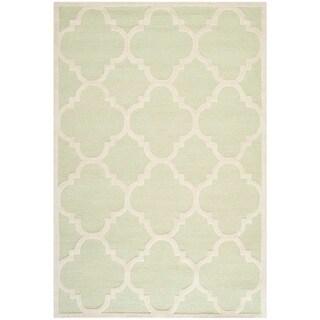Safavieh Handmade Moroccan Cambridge Light Green/ Ivory Wool Rug (6' x 9')