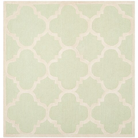 Safavieh Handmade Moroccan Cambridge Light Green/ Ivory Wool Rug - 6' x 6' Square