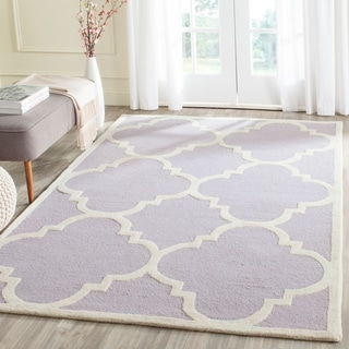 Safavieh Handmade Moroccan Cambridge Lavender/ Ivory Wool Rug (5' x 8')