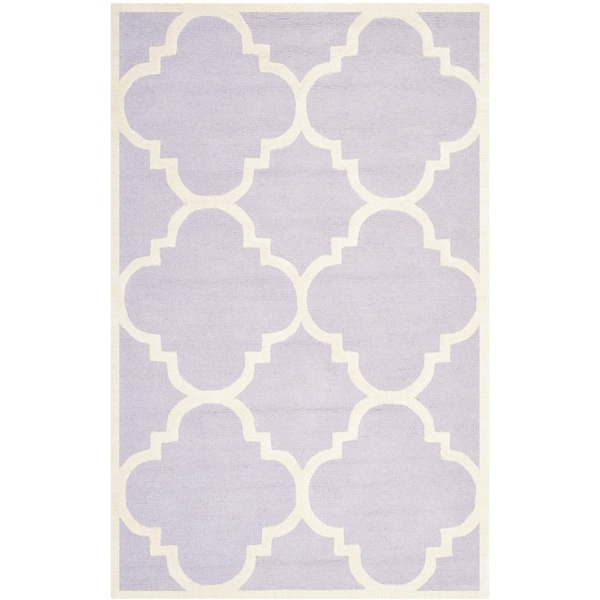 Safavieh Handmade Moroccan Cambridge Lavender/ Ivory Wool Rug (5' x 8') - 5' x 8'