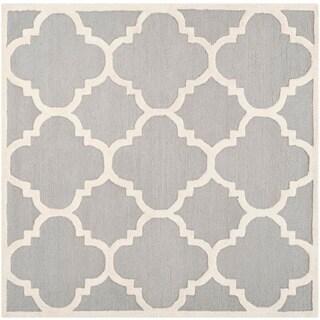 Safavieh Handmade Moroccan Cambridge Silver/ Ivory Wool Rug (6' Square)