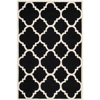 Safavieh Handmade Moroccan Cambridge Black/ Ivory Wool Rug - 8' x 10'