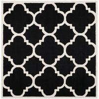 Safavieh Handmade Moroccan Cambridge Black/ Ivory Wool Rug - 8' Square