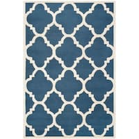 Safavieh Contemporary Handmade Moroccan Cambridge Navy/ Ivory Wool Rug - 10' x 14'