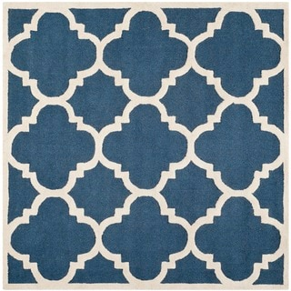 Safavieh Handmade Moroccan Cambridge Navy/ Ivory Wool Rug (6' Square)