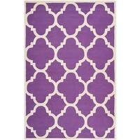 Safavieh Handmade Moroccan Cambridge Purple/ Ivory Wool Rug - 5' x 8'