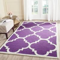 Safavieh Handmade Moroccan Cambridge Purple/ Ivory Wool Rug - 6' x 9'
