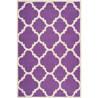 Safavieh Handmade Moroccan Cambridge Purple/ Ivory Wool Rug (9' x 12')