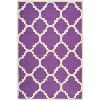 Safavieh Handmade Moroccan Cambridge Purple/ Ivory Wool Rug (9' x 12')