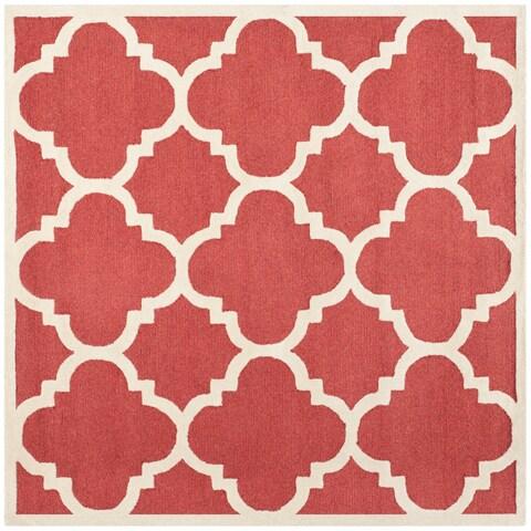 Safavieh Handmade Moroccan Cambridge Rust/ Ivory Wool Area Rug - 6' x 6' Square