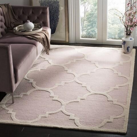 Safavieh Handmade Moroccan Cambridge Light Pink/ Ivory Wool Rug - 8' x 8' Square