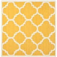 Safavieh Handmade Moroccan Cambridge Gold/ Ivory Wool Rug - 6' Square