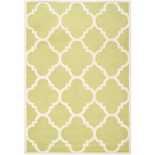 Safavieh Handmade Contemporary Moroccan Cambridge Green/ Ivory Wool Rug (9' x 12')