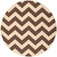 "Safavieh Courtyard Chevron Dark Brown Indoor/ Outdoor Rug - 5'3"" x 5'3"" round"