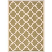 Safavieh Courtyard Moroccan Trellis Green/ Beige Indoor/ Outdoor Rug - 9' x 12'