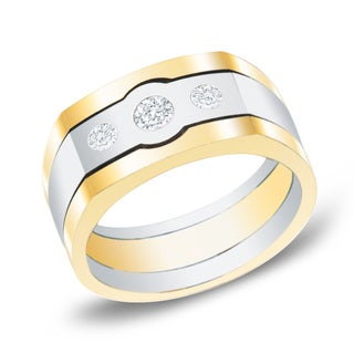 Men's 14k Two-Tone Gold 1/2ct. TW Satin Finish 3-Stone Diamond Wedding Band by Auriya