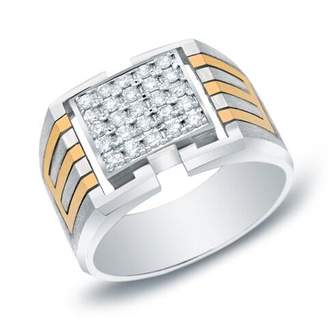 Auriya 14k Two-tone Gold Men's 1/2ct TDW Satin Finish Diamond Bling Ring