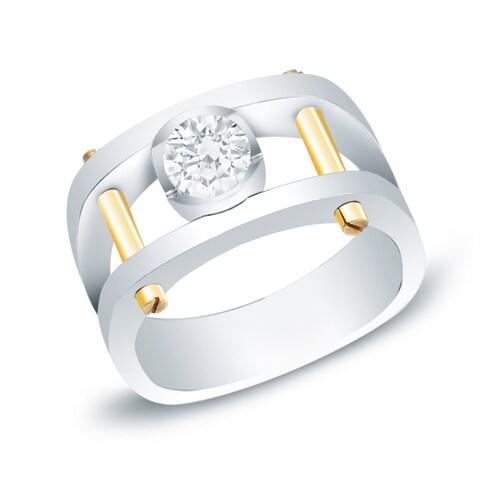 Auriya 14k Two-tone Gold Men's 1ct TDW Diamond Bling Ring