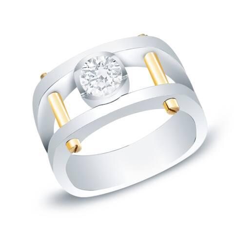 Auriya Men's 14k Gold 1ct TDW Diamond Bling Ring - Two-Tone