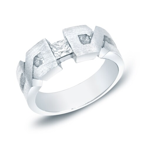 Auriya 14k Gold Men's 1/3ct TDW Satin X-Carved Diamond Wedding Band Ring
