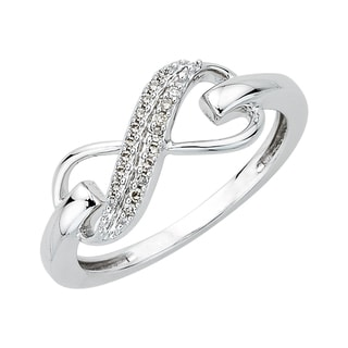 0.06 TDW Sterling Silver Double Row Diamond Infinity Ring