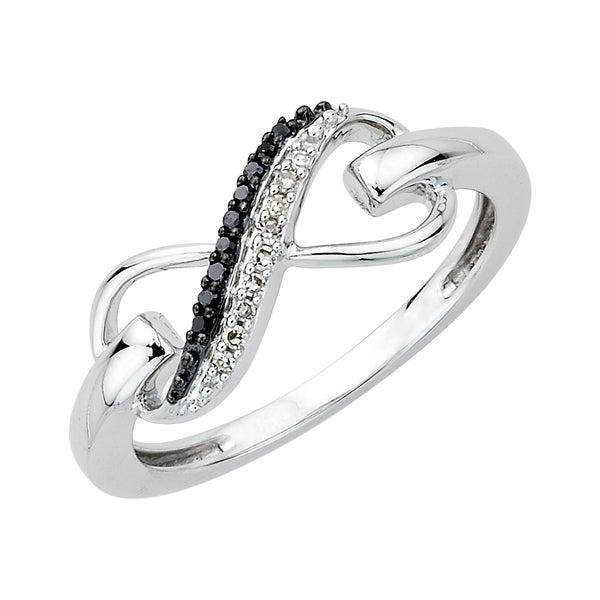 0.06 TDW Sterling Silver Black and White Diamond Infinity Ring