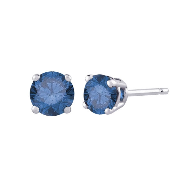 14K White Gold 1/4ct TDW Round Blue Diamond Stud Earrings