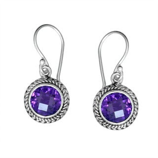 Sterling Silver Bali Faceted Round Amethyst Dangle Earrings (Indonesia)