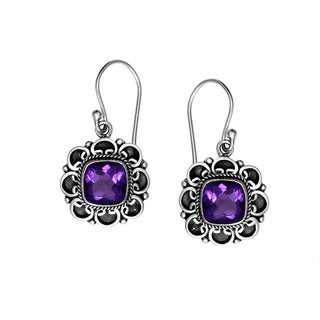 Sterling Silver Bali Faceted Amethyst Dangle Earrings (Indonesia)