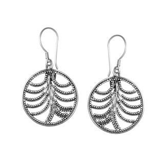Handmade Sterling Silver Bali Round Beaded Beauty Dangle Earrings (Indonesia)
