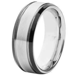 Crucible Two-tone Stainless Steel Brushed Grooved Center Ring - White
