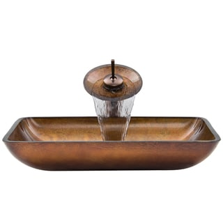 VIGO Rectangular Oil Rubbed Bronze Russet Glass Vessel Sink and Waterfall Faucet Set