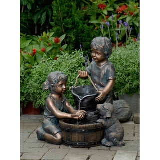 Superieur Two Kids And Dog Outdoor/ Indoor Water Fountain