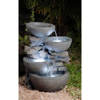 Sunnydaze 4 tier descending stone bowls outdoor water fountain with modern bowls with led lights indoor outdoor water fountain aloadofball Gallery