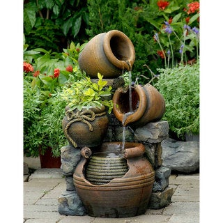 Nice Multi Pots With Flower Pot Outdoor Water Fountain