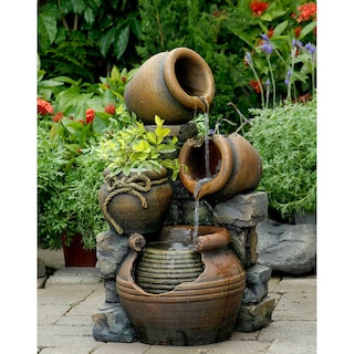 multi pots with flower pot outdoor water fountain - Garden Water Fountains