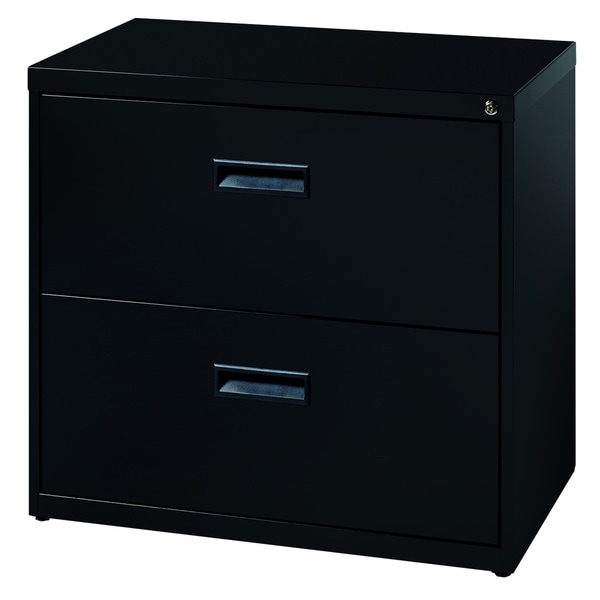 "Space Solutions 30"" Wide 2-Drawer Office Lateral File Cabinet, Black"
