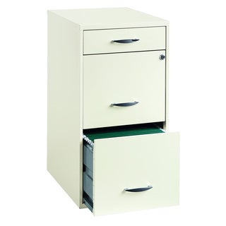Space Solutions 18u0026quot; Deep 3  Drawer Organizer File Cabinet, Pearl White