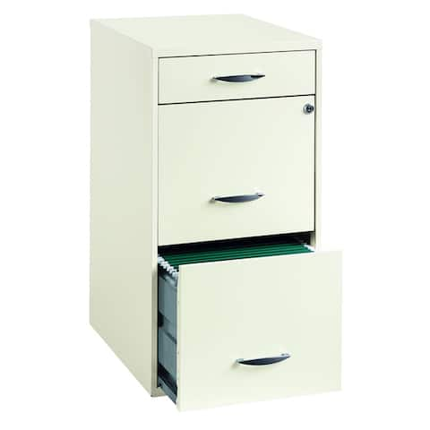 """Space Solutions 18"""" Deep 3 -drawer Organizer File Cabinet, Pearl White"""