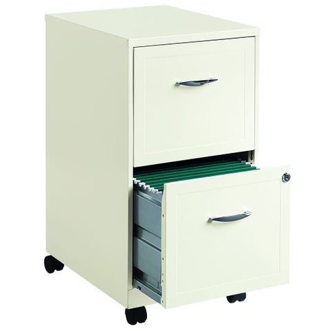 "Space Solutions 18"" Deep 2-drawer Mobile File Cabinet, Pearl White"