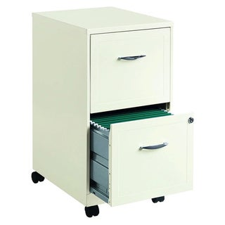 """Space Solutions 18"""" Deep 2-drawer Mobile File Cabinet, Pearl White"""