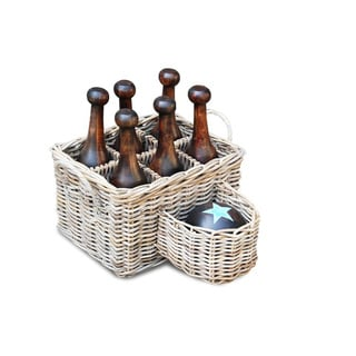 Decorative Vintage 7-piece Antique Wooden Bowling Set with Basket